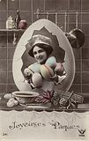French Easter card, showing girl in kitchen