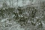Hand to hand fighting between the Hussars and the Russians in Birkenwalde