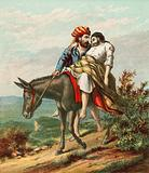 The Good Samaritan caring for the wounded traveller