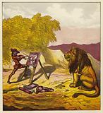 John Bold painting the lion