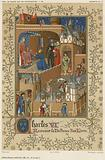 Charles VI receiving the dedication of a book
