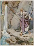 Moses striking the rock to bring forth water