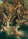 The three maidens swam close to the shore