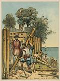 Columbus building a fort in Haiti