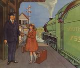 Girl giving her railway ticket to the station master