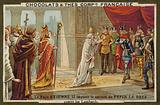 Pope Stephen II asking Pepin the Short for his help against the Lombards
