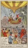 First manned flight in a hydrogen balloon, 1 December 1783