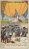 The first military balloon, L'Entreprenant, in use at the Battle of Fleurus, 1794