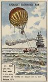 Theodore Sivel testing a cone-shaped balloon anchor over the Baltic Sea, 1874