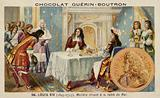 Moliere dining at the table of Louis XIV of France
