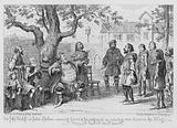 Sir John Falstaff, at Justice Shallows, exercising his wit and his judgement in selecting men to serve the King