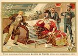 Passengers on a ship being given Ricqles mint spirit to cure their seasickness