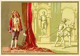 Moliere, French playwright, and a scene from his play Don Juan
