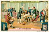 Alessandro Volta explaining the principle of his battery to Napoleon Bonaparte, 1800