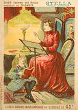 Woman and child reading by the light of an oil lamp