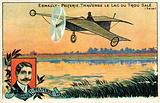 Robert Esnault-Pelterie flying over the Lac du Trou Sale, France, 1908