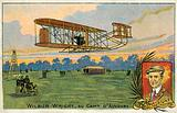 Wilbur Wright making a flight at the Camp d'Avours, France, 1908