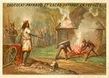 Chlothar I, King of the Franks, burning to death his rebel son Chram and his family, 561