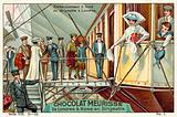 Boarding the airship in London