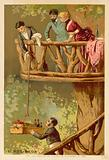 Lifting a picnic up into a tree house