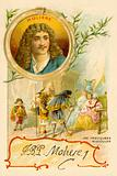 Moliere, French playwright, and a scene from his play Les Precieuses Ridicules