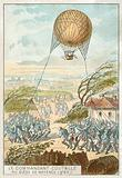 Jean-Marie-Joseph Coutelle making observations from a balloon at the Battle of Mainz, 1795