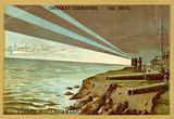 Searchlights from a shore battery illuminating a fleet of warships, Spanish-American War, 1898