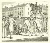 Stroud, the notorious cheat, whipped at the Cart's-Tail from Charing Cross to Whitehall