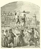 Chastising a Quaker at Paul's Cross, Cheapside, in the time of Oliver Cromwell