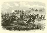 Indiens attaquant dans le desert la diligence transcontinentale, Juillet 1867