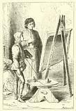 Leonardo Da Vinci, as a boy, in the studio of Vervechio
