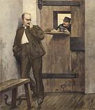 Alfred Dreyfus in his prison cell