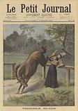 A woman kicked by a horse