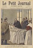 A victim of duty: The Paris Prefect of Police presenting a medal to a wounded officer