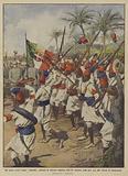 Gli ascari eritrei fanno fantasta davanti la gloriosa bandiera dell'84° fanteria nella loro gita …