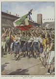 Ore di letizia per l'Italia, entusiasmi per la bandiera italiana nello stadium di Stoccolma dopo …