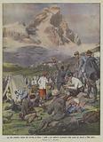 La gita popolare alpina dal Cervino al Rosa, i mille e piu alpinisti accampati nella conca del Breuil a 2004 metri
