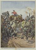 Riparto di soldati sorpresi in una strada incassata presso Siena da due buoi in fuga col carro …