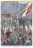 Il convegno dei combattenti, alla presenza del Principe di Udine, nella piazza maggiore di Bolzano