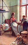 """""""Open doors gave us glimpses of domestic serenity,"""" a living-room in the Government's free hotel …"""