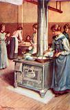 """""""A group of bustling housewives,"""" the kitchen of the Winnipeg Immigration Hall"""