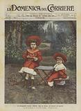 Le principessine Jolanda e Mafalda figlie del Sovrani nel giardino del Quirinale