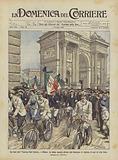 Le feste del Touring Club Italiano a Milano, la sfilata davanti all'arco del Sempione di migliaia …