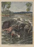 Naufragio di una barca nell'Arno in piena, a Compiobbi presso Firenze