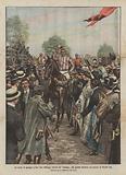 Le corse al galoppo a San Siro (Milano), l'arrivo nel pesage del cavallo vincitore del premio di 100,000 lire