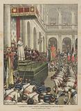 Il pontefice Pio X riceve e benedice i ginnasti francesi nel cortile di S Damaso