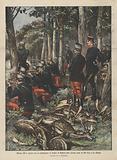Alfonso XIII a caccia con un battaglione di soldati di Madrid nella foresta reale di Rio Frio a La Granja