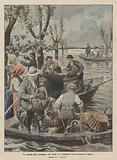 Un episodio delle inondazioni nel Veneto, la vendemmia fatta col mezzo di barche