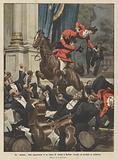 Un numero fuori programma in un teatro di varieta a Berlino, cavallo ed acrobati in orchestra