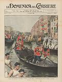 L'arrivo degli Imperiali di Germania a Venezia, il corteo lungo il Canalgrande che scorta le gondole coi Sovrani